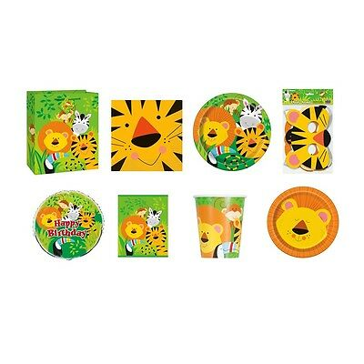 ANIMAL JUNGLE PARTY RANGE (Party Tableware, Banners, Balloons & Decorations)(1C)
