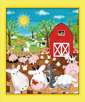Animal Farm Fabric Panel Farm Barn Animals Premium Cotton Pig Cow Horse Chicken