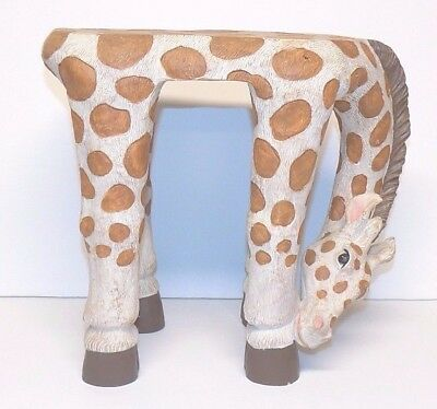 Unique Scupted Giraffe Stool Child's Playroom Decor Noah's Ark Animal Theme