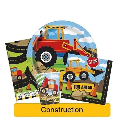 CONSTRUCTION Birthday Party Range - Tableware Banners Balloons & Decorations(1C)