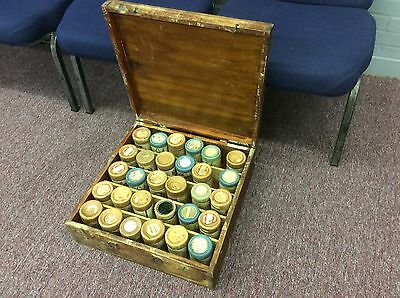 Lot of 30 antique Edison Cylinders in wood case. See below