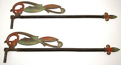 Vtg Set of 2 Victorian Swinging Curtain Rods Gold Red Green Iron Ornate Sliding