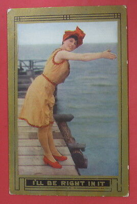 ANTIQUE EARLY 1900's BATHING SUIT SCENE POSTCARD-I'LL BE RIGHT IN-LADY DIVING
