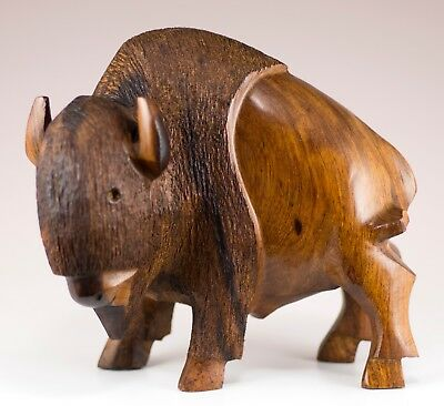 "Hand Carved Wood Wooden Ironwood Buffalo Figurine Head Turned 5""H Made In USA"