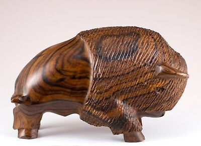 "Hand Carved Wood Wooden Ironwood Buffalo Charging Figurine 5.5"" Long Made In USA"