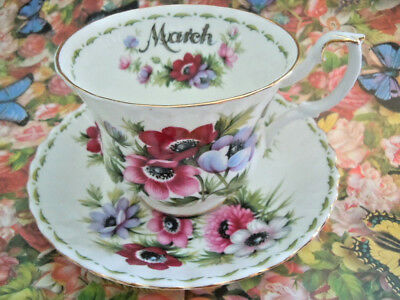 Royal Albert Flower Of The Month Series March - Anemones - Cup & Saucer