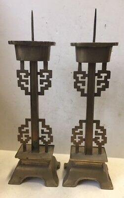 Stunning Pair of Antique Chinese Solid Brass Candlesticks