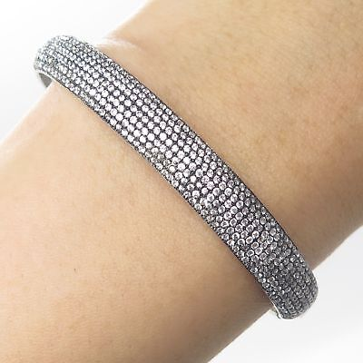925 Sterling Silver Micro Pave C Z Half Around Bangle Bracelet 6""