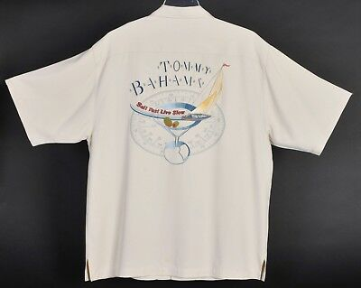 Tommy Bahama Sails Fast Live Slow Martini Embroidered Silk Shirt Mens M S Sleeve