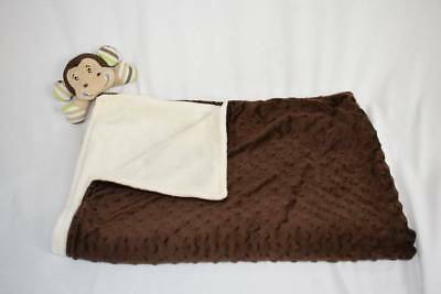 Babies R Us HTF Blanket Baby Security Plush Lovey Monkey Brown Cream Minky Green