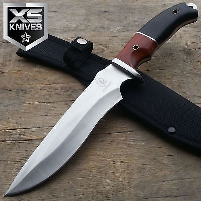 "12"" BUCKSHOT Wooden Handle Silver Fixed Blade Full Tang Hunting Knife w/ Sheath"