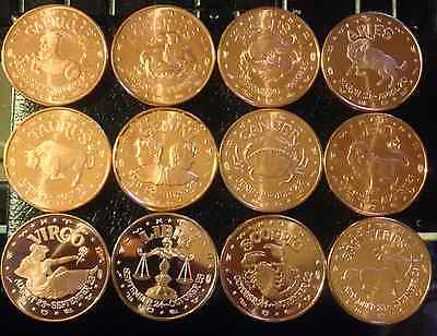 Set Of 12 Different 1 Oz Copper Rounds - Zodiac Signs