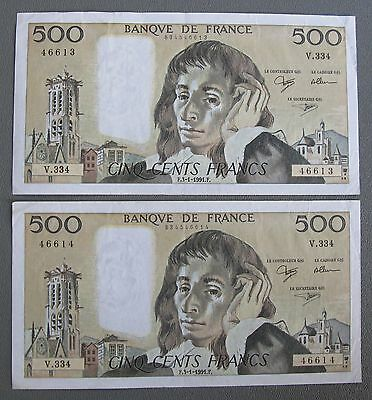 (2) 1991 Consecutive Serial # FRENCH 500 Francs Banknotes Pick # 156 H;E287