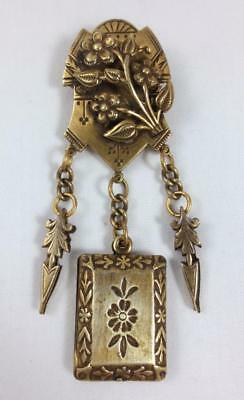 Vintage/ Antique Eastlake Style VICTORIAN BRASS PIN BROOCH with DANGLING CHARMS