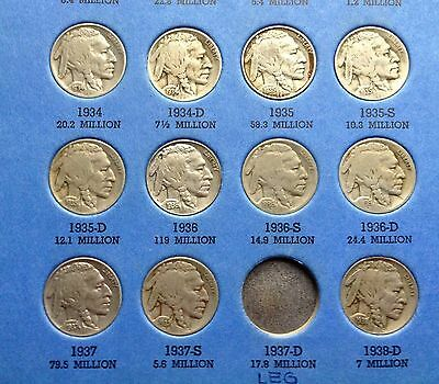 Key Date 1924D/31S! Buffalo Nickel Collection 1913-1938 In Album! 40 Diff. Coins