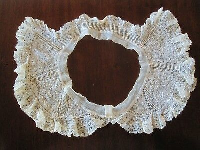 Pretty Antique Alencon Ivory Mixed Lace Collar 19Th Century