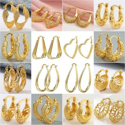 Hot 18K Yellow Gold Filled Dangle Hoop Earrings Engagement Women Party Jewelry