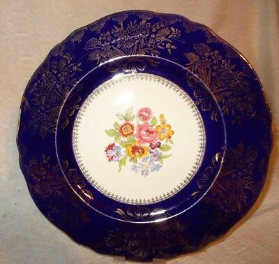 """Steubenville 10 1/2"""" Dinner Plate white /cobalt & gold accents  Marked 2050    e"""