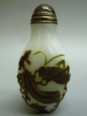 Chinese Katydid Lotus Root Pattern Carved Peking Glass Snuff Bottle