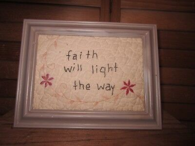Primitive Framed Stitchery -tan frame - quilt - faith will light the way- 3