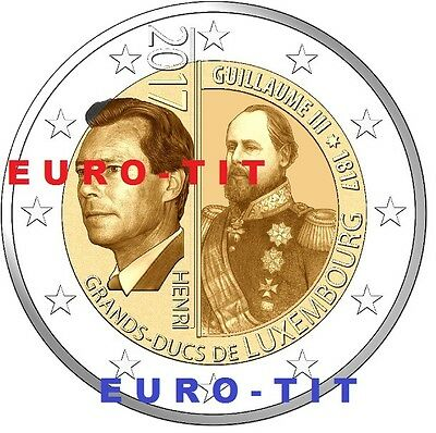 2 €   LUXEMBOURG   5  X   PIECES   NEUVE    2017  GUILLAUME  III 2017 disponible