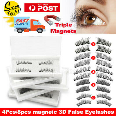 3D Triple Magnetic False Eyelashes No Glue Handmade Natural Extension Eye Lashes