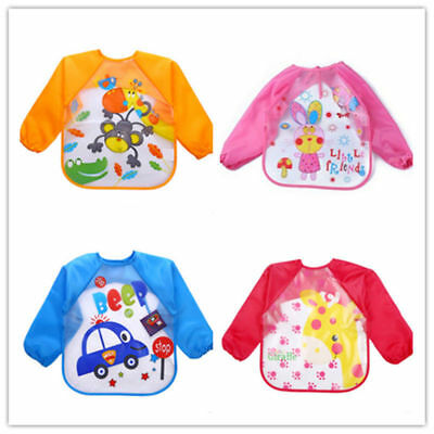 Cute Baby Toddler Waterproof Long Sleeve Children Kids Feeding Smock Bibs Apron
