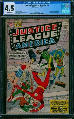Justice League of America # 5  When Gravity went Wild !  CGC 4.5  scarce book !