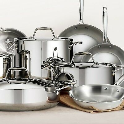 Tramontina Stainless Steel Tri-Ply Clad 14 piece Cookware Set with Lids