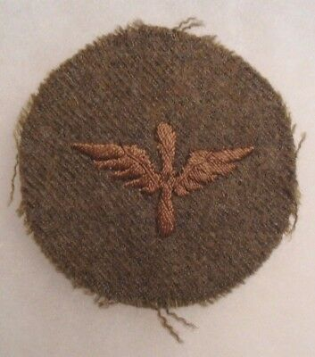 Wwi Army Air Corps Pfc Disc Brown Silk Embroidered Wing And Prop On Wool