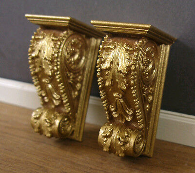 PAIR  WALL  BRACKETS ~ for  BARBIE  ~ 2 PIECES ~ resin~ Architectural ~ Gold