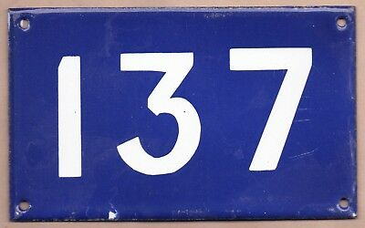 Old Australian used house number 137 door gate enamel metal sign in French blue