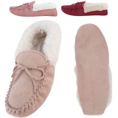 Ladies Womens Suede Sheepskin Moccasin Slippers Suede Sole Lambswool Cuff