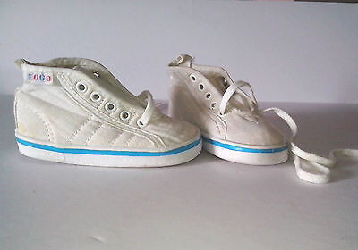White Canvas Shoes with Turquoise Blue trim and lace ties  1980s True Vintage
