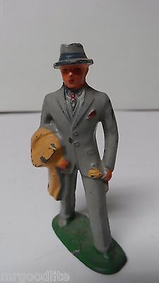 Vintage USA Cast Metal Christmas Train Garden Figure - MAN IN GREY SUIT