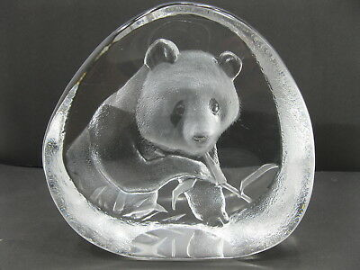 Signed Mats Jonasson Lead Crystal Engraved Panda Bear Paperweight Sweden