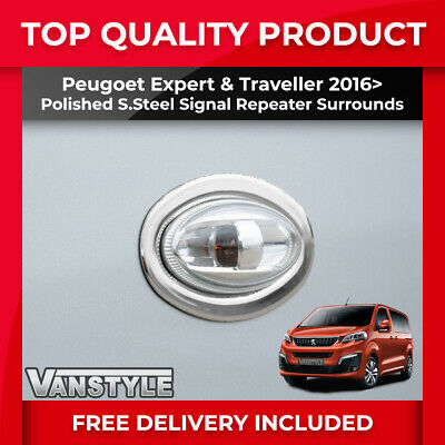 Peugeot Expert 2016+ Indicator Surround Signal Repeater Pair Chrome Stainless