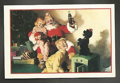 "Coca Cola POST CARD-""Happy Holidays"" (1964 SANTA) (Santa, Kids & Dog)(1991)"