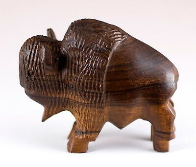 "Hand Carved Wood Wooden Ironwood Buffalo Figurine 2.5"" High Made In USA"