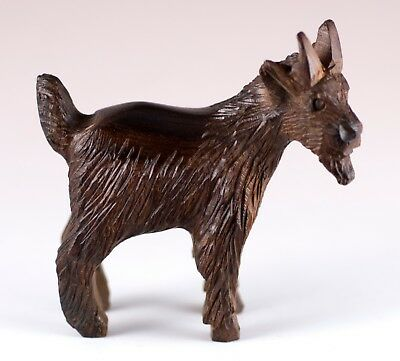 "Hand Carved Wood Wooden Ironwood Goat Figurine 3.25"" High Made In USA"
