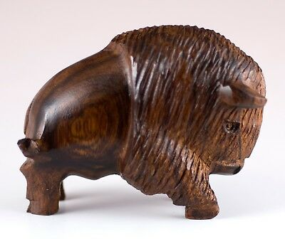 "Hand Carved Wood Wooden Ironwood Buffalo Charging Figurine 3"" Long Made In USA"