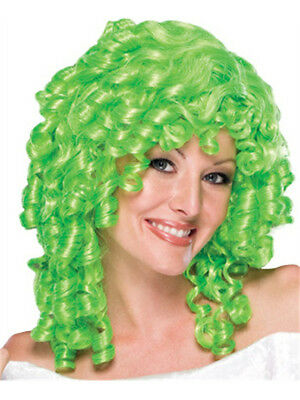 Women's Lime Green Curly Top Ringlet Clown or Loopsy Doll Costume Wig