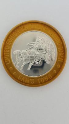 Limited Edition Silver/Brass Sam's Town Las Vegas $10 Casino Gaming Token Chip 2
