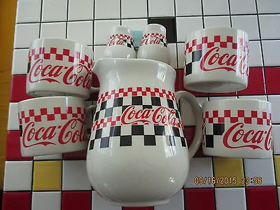 Coca Cola 7-Piece Stoneware Serving Set Toujours Pitcher/Mugs/Salt & Pepper Set