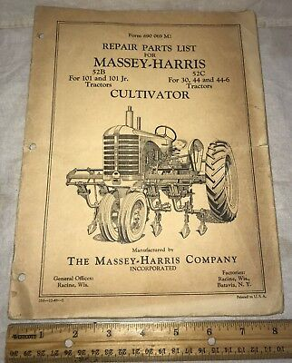 Antique Massey Harris Cultivator Tractor Repair Part List Catalog Farm Racine Wi