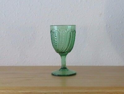 EAPG Indiana Feather Green Wine Glass