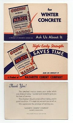 "3 NAZARETH CEMENT CO Ink Blotters - 3½""x6"", 1940s?, NAZCO CEMENT, Exc Cond"