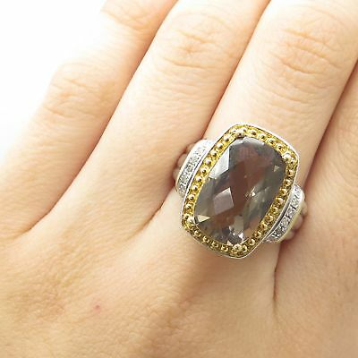 Signed 925 Sterling Silver 2 Tone Real Diamond Smoky Topaz Gem Wide Ring Size 8