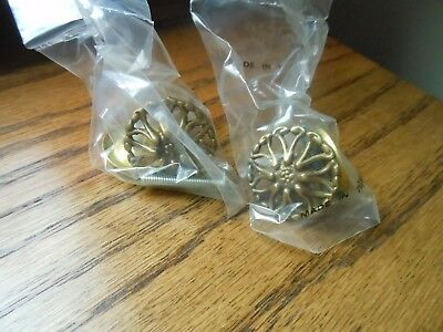 2 Vintage Old Stock Brass Metal French Ornate Knobs Drawer Pulls Handles