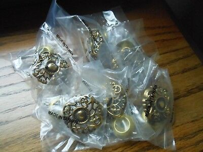 6 Vintage Old Stock Brass Metal French Ornate Knobs Drawer Pulls Handles